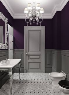 Delicieux Bathroom Decor Ideas: Purple Paint And Chandelier