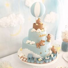 Tortas Baby Shower Niña, Torta Baby Shower, Baby Shower Cakes For Boys, Baby Boy Cakes, Boy Baby Shower Themes, Baby Shower Balloons, Baby Boy Shower, Birthday Cake Kids Boys, Baby Birthday Cakes