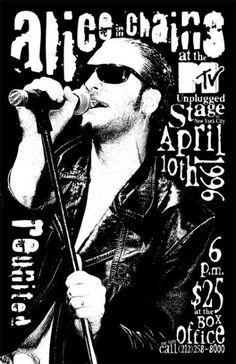 Poster for Alice in Chains' MTV Unplugged taping at the Brooklyn Academy of Music April 10 1996 (via Alice in Chains Chile) Glam Rock, Rock Chic, Grunge Goth, Art Grunge, Alice In Chains, Scott Weiland, Layne Staley, Rock Posters, Band Posters