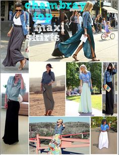 chambray top + maxi skirt. fall transition