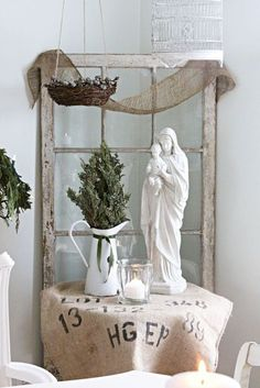love the old window as backdrop..hail Mary / christmas xmas ideas - Juxtapost