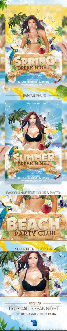 PSD Tropical Spring Summer Beach Night Flyer Party  Template • Only available here ➝ http://graphicriver.net/item/tropical-spring-summer-beach-night-flyer-party/2224106?ref=pxcr