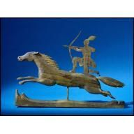 Weather Vane: Indian on Horseback 1850-1880 Artist/Maker: Unidentified Origin: America, Maine (probably), Wells area (possibly) Overall: 27 3/8 x 39 x 1 3/4in. (69.5 x 99.1 x 4.4cm) Iron, pine, paint, and gilt