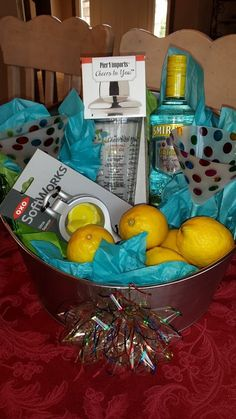 When Life Hands You Lemons. Just Add Vodka & Make Lemon Drops! - In a beverage tub, include a cocktail shaker, 2 martini glasses… Liquor Gift Baskets, Diy Gift Baskets, Vodka Gifts, Alcohol Gifts, Theme Baskets, Themed Gift Baskets, Fundraiser Baskets, Raffle Baskets, Xmas Gifts