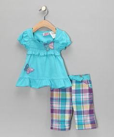 Take a look at this Turquoise Peasant Top & Plaid Pants - Toddler by Young Hearts on #zulily today!
