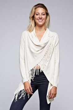 Love Stitch Carys Fringed Shawl Sweater with Button in Vanilla