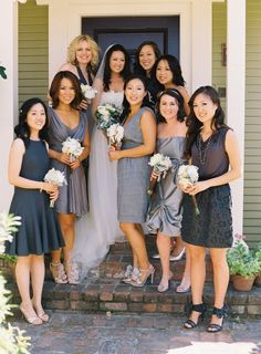 ~i like the different types & shades of dresses for bridesmaids