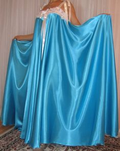 VTG Lingerie Silky Satin Slip FULL Sweep Negligee Babydoll LONG Nightgown M- 6X #Satin #RobeGownSets #Lingerie