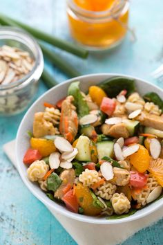 This Mandarin Chicken Pasta Salad recipe is the perfect light and satisfying summertime side dish for your barbecues or potluck parties.