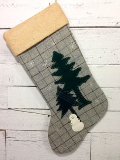 Personalized Christmas Stocking, Rustic Stocking, Large Christmas Stocking, Rustic Christmas Stocking, Cabin Stocking, Snowman Stocking by AwayUpNorth on Etsy https://www.etsy.com/listing/113079778/personalized-christmas-stocking-rustic