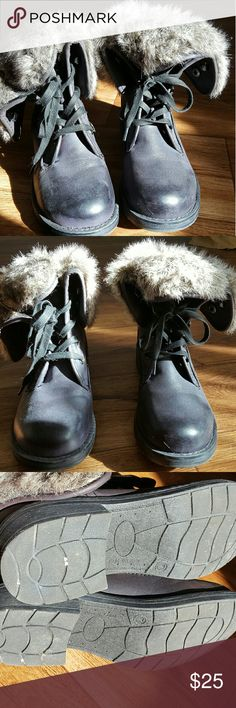 Black combat boots - Brand new Black combat boots with fur trim. Brand new, never worn. Cute and cozy boots. Shoes Combat & Moto Boots