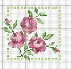 roses in square cross stitch chart Cross Stitch Love, Cross Stitch Cards, Cross Stitch Borders, Cross Stitch Flowers, Cross Stitch Designs, Cross Stitching, Cross Stitch Embroidery, Embroidery Patterns, Cross Stitch Patterns