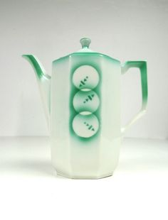 BAUHAUS DESIGN COFFEE / TEA POT  ABSTRACT SPRITZDEKOR GERMAN POTTERY CERAMIC