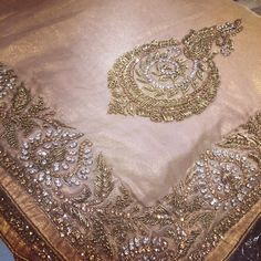 Gorgeous intricately embroidered formal Saree… Gold on gold with Diamonte and dabka work! Perfect for your upcoming event ! Embroidery Suits Punjabi, Zardosi Embroidery, Hand Embroidery Dress, Embroidery Suits Design, Bead Embroidery Patterns, Embroidery On Clothes, Couture Embroidery, Embroidery Fashion, Hand Embroidery Designs