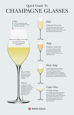 Guide to Champagne Glasses and Flutes. There are a few styles of sparkling glassware, and believe it or not, they do make a difference in the way the wine tastes. Board: Champagne and Wine Guide Vin, Wine Guide, Wine Cocktails, Alcoholic Drinks, Beverages, Wine Folly, Wine Education, Champagne Flutes, Champagne Recipe