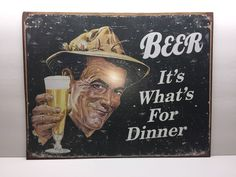 """""""Beer""""  It's What's For Dinner, Tin Sign, 12"""" X 16"""", Home Decor,  Bar, Pub  
