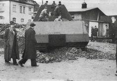 Porsche Type 205/1 also known as Panzerkampfwagen VIII Maus with a cast iron weight undergoing trials at Kummersdorf December 1943.