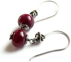Red Ruby Gemstone Earrings Oxidized Sterling Silver by JanetDavies, $58.00