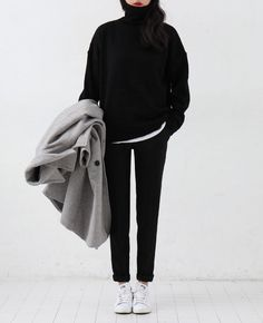 Oversize black polo neck jumper, white t-shirt, black skinny jeans, Stan Smith's & grey coat | /styleminimalism/