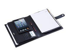 iPad Mini Leather Folio Deluxe Genuine Leather Folder Style | iCarryalls Leather Fashion Leather Folder, Div Style, Portfolio Book, Ipad Mini 3, Macbook Air, Leather Fashion, Book Design, Black Leather, Notebook
