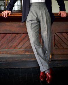 versatile grey flannel slacks