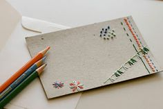 Embroidered note cards via Design Sponge