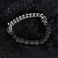 Lavastone Skull Bead Armband Silber