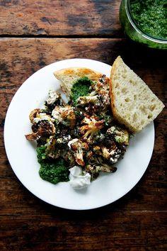 Roasted Cauliflower with Skhug and Lemony Yogurt Sauce - Alexandra's Kitchen