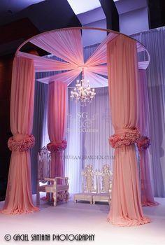 Suhaag Garden, Florida wedding decor and design vendor, Pink Draped mandap with chandelier