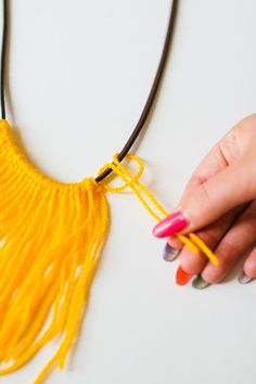 DIY Fringe Statement Necklace Yarn Festival Fashion Neon tutorial bespoke bride