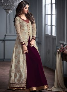 Maroon Floor Length Gown with Long Cream Jacket