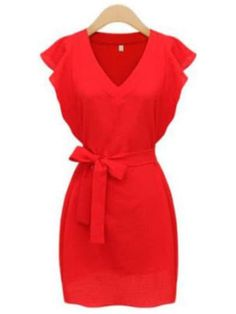 8fc1c7fa3678 V Neckline Ruffle Sleeve Self-Tie Dress. Ceinture RougeMode ...