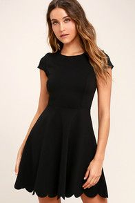 You won't need a picture to prove how cute you look in the Proof of Perfection Black Skater Dress! Stretch knit dress with a twirl-worthy skirt ending in a scalloped hem. Formal Dresses With Sleeves, Cute Dresses, Casual Dresses, Short Dresses, Maxi Dresses, Cute Black Dress, Buy Dress, Knit Dress, Skater Dress
