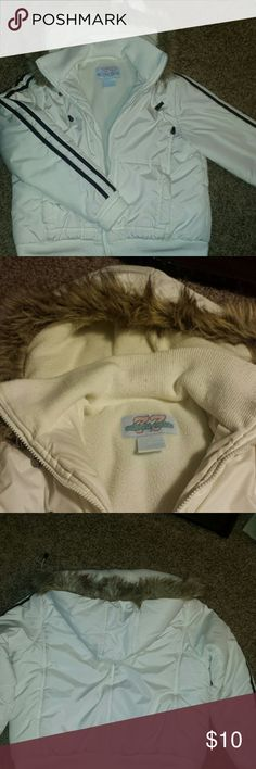 Puffer jacket Winter white with brown stripes on the sleeves . It is in good used condition.  The inside lining has piling, but out side in great condition. The hood has fur and is removable. Jackets & Coats Puffers
