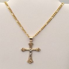 Religious 10k yellow Gold Jesus Cross Crucifix Pendant Figaro chain 20 INcH by RG&D...|||| #10kt #yellowgold #gold #yellow #fashion #online #pendant #jewelry #goldpendant #chains #goldchain #shopping #buy #sell #love #jewels