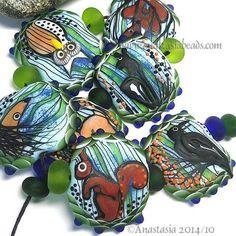 ANASTASIA--lampwork beads--(7)-- FOREST CREATURES --SRA