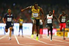 Usain Bolt wins gold in the men's 4x100 metres relay final at the IAAF World Athletics Championships in Beijing, August 2015.