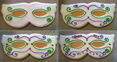 how to decorate mardi gras mask cookies - Google Search