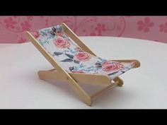 DIY Beach Chair from Popsicle Sticks - Super Easy Project - How to make Mini Furniture Toys for kids. In this video I show you how I am building a folding beach chair. DIY Beach Chair from Popsicle Sticks - Super Easy Project - How to make Mini Diy Furniture Chair, Diy Barbie Furniture, Sticks Furniture, Diy Chair, Diy Dollhouse Furniture Easy, Furniture Stores, Kids Furniture, Furniture Outlet, Upcycled Furniture