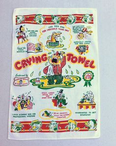 Vintage Crying Towel Great Graphics Funny by unclebunkstrunk