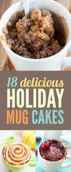 18 Holiday Mug Cakes Worth Feasting On Make these keto Mug Cakes, Cake Mug, Cupcake Cakes, Just Desserts, Delicious Desserts, Dessert Recipes, Yummy Food, Tasty, Microwave Mug Recipes