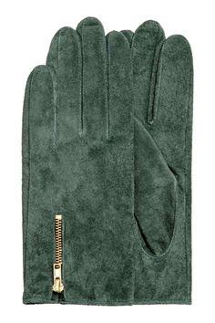 Замшевые перчатки - Темно-зеленый - Женщины | H&M RU 1