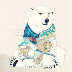 Polar Bear - fine art print surreal illustration drawing painting stylized imaginative fantasy wall decor