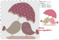 Schema punto croce Uccellini innamorati
