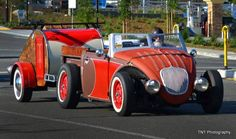 Here is Bob Calkins's cool bug roadster and matching teardrop compact camping setup