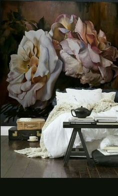 inspiration for guest room/study: a wall mural like this with pale rose or lilac coloured walls in rest of room. Diana Watson Wall paper Bed of Roses - just beautiful! Home Bedroom, Bedroom Decor, Wall Decor, Wall Art, Wall Paper Bedroom, Wall Murals Bedroom, Master Bedroom, Light Bedroom, Bedroom Wallpaper