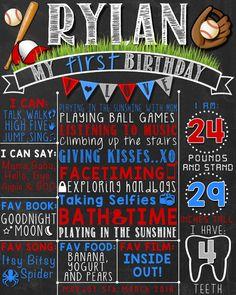 Baseball First Birthday Chalkboard Poster | Boy 1st Birthday Chalk Board | Baseball Theme | DIGITAL FILE - PRINTABLE by LetsChalkMemories on Etsy https://www.etsy.com/listing/269878082/baseball-first-birthday-chalkboard