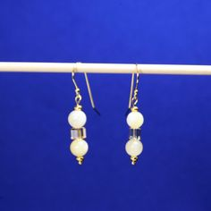 """Honey Square"" Yellow Calcite, Crystal & Gold Earrings"