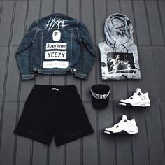 Pure Custom Hype   #outfitgrid _______________________________  Custom Hype Denim Jacket  Custom Pablo Cap Off-White Shorts and Hoodie Jordan 4's White Cement