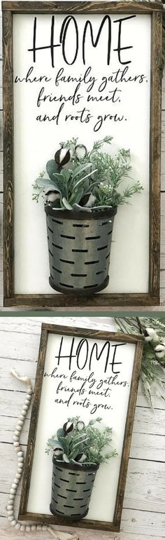 Home Sign with Galvanized Vase - Home Definition - Where Family Gathers, Modern Farmhouse Decor, Rustic Home Decor, Rustic Farmhouse Sign, Farmhouse Decor, Home Sign, Cotton Stem Sign, Gallery Wall Sign, Housewarming Gift Idea, Gift for Mom, Family Room Decor, Fixer Upper Home Decor, 3-D Wall Art, 3 Dimensional Wall Art, Farmhouse Fixer Upper Decor #ad #homedecor #rustichomedecor